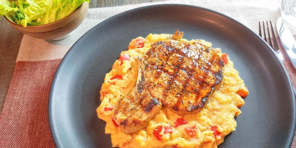 Côtes Porc Polenta Poivron Rouge Porc Chop Red Pepper Polenta