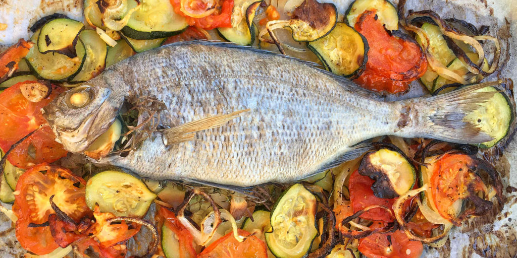 Daurade Four Légumes Oven Sea Bream Vegetables