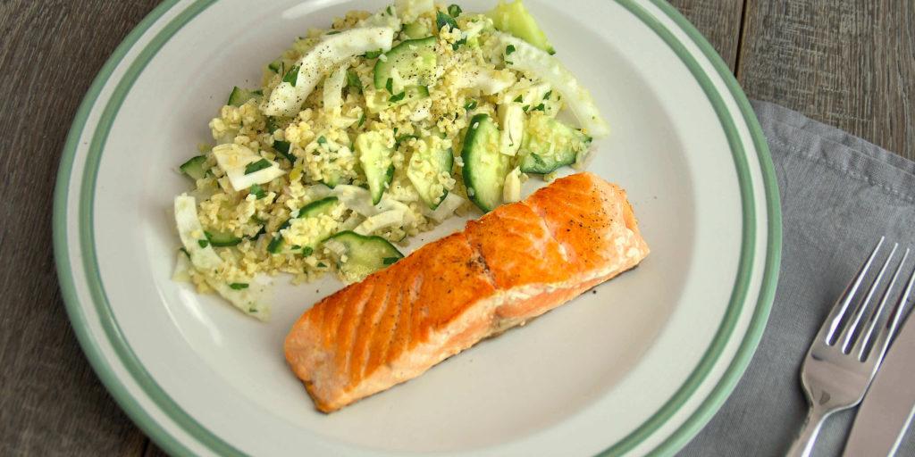 Saumon Salade Fenouil Concombre Boulgour Salmon Bulgur Fenel Cucumber Salad