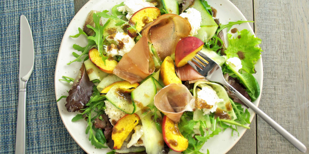 Salad Jambon Cru Pêches Mozzarella Cured Ham Peaches Mozzarella Salad