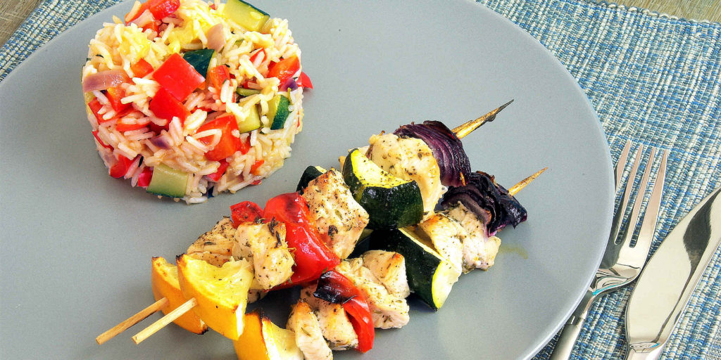 Brochette Dinde Citron Riz Légumes Lemon Turkey Kebabs Vegetable Rice