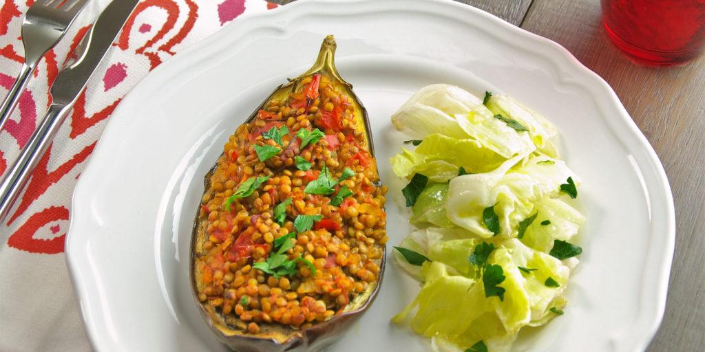 Aubergine Farcies Lentilles Tomates Stuffed Aubergine Lentils Tomato