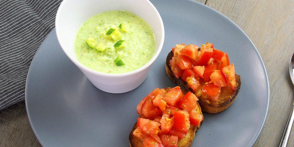 Burschetta Tomate Gaspacho Concombre Tomato Bruschetta Cucumber Gaspacho