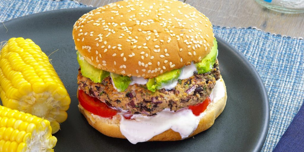Hamburger Haricots Rouges Épis Maïs Red Bean Burger Corn Cob