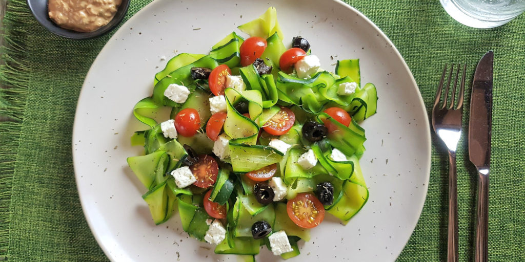 Salade Nouilles De Courgettes Méditerranéenne Mediterraneen Courgette Noddle Salad