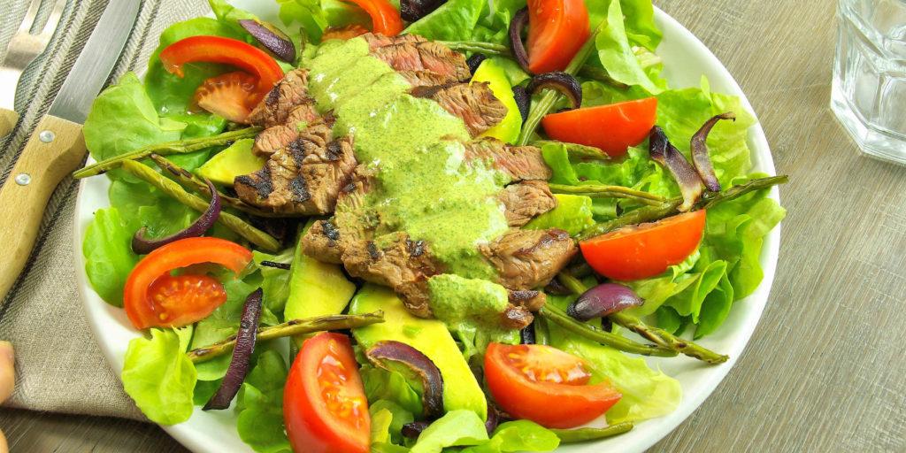Salade Steak Sauce Coriandre Steak Salad Coriandre Sauce