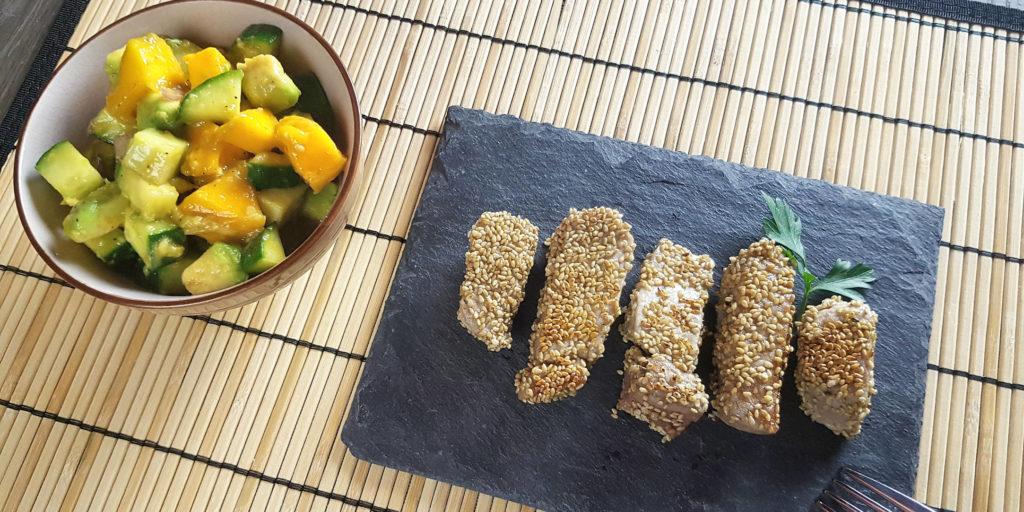 Thon Sésame Salade Avocat Mangue Sesame Seeds Tuna Mango Avocado Salad