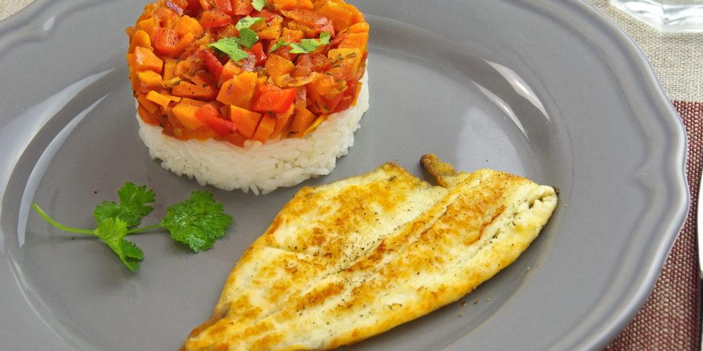 Filet Carrelet Riz Légumes Plaice Filet Vegetable Rice
