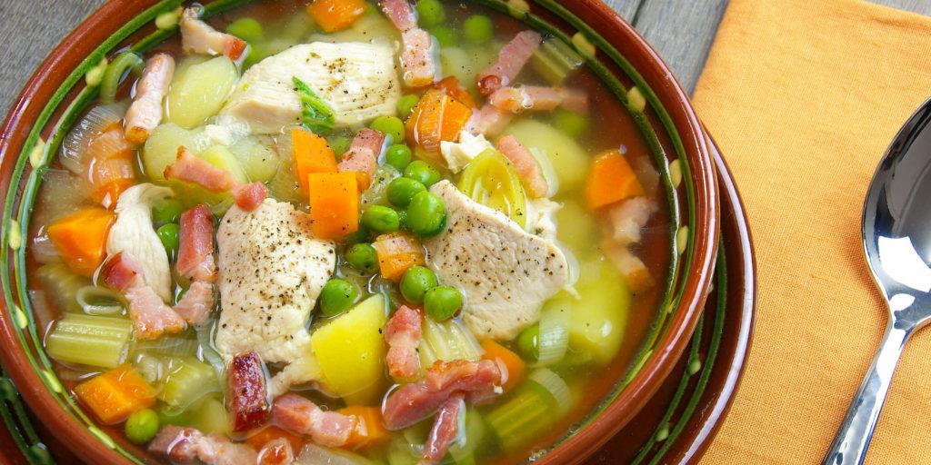 Soupe Poulet Poché Aux Légumes Poached Chicken Vegetable Soup
