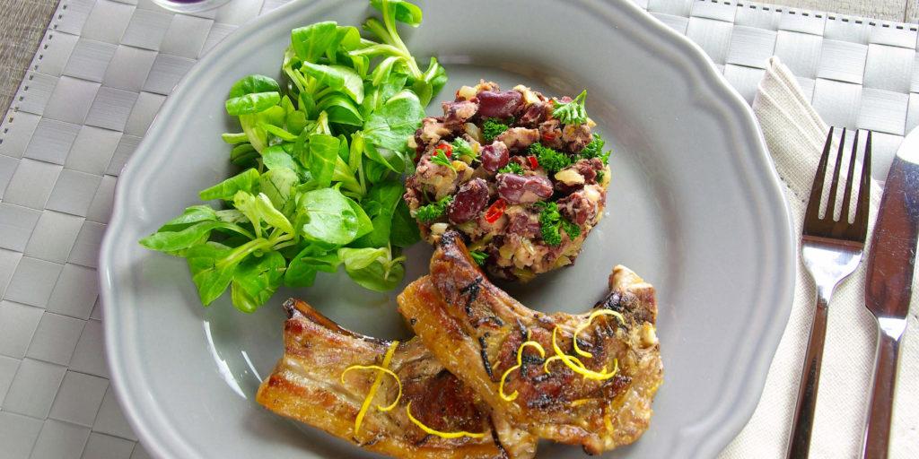 Côtelette Agneau Écrasé Haricot Rouge Lamb Chop Red Bean Salsa
