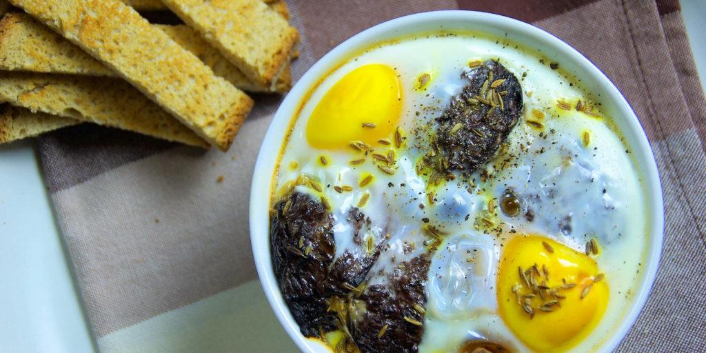 Oeufs Cocotte Boudin Noir Egg Black Pudding