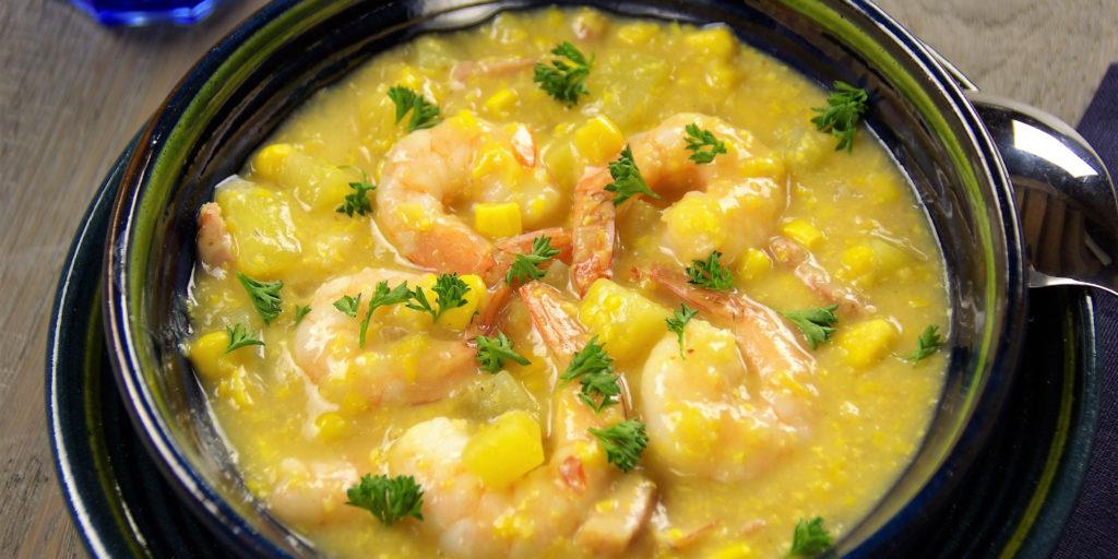 Soupe Épaisse Crevettes Maïs Prawn Chowder